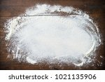 baking background with flour on ... | Shutterstock . vector #1021135906