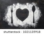 spoon  fork and plate in heart... | Shutterstock . vector #1021135918
