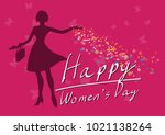 happy women's day 8 march pink... | Shutterstock .eps vector #1021138264