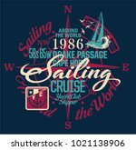 sailing around the world yacht... | Shutterstock .eps vector #1021138906