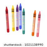 wax crayons  colorful  vector... | Shutterstock .eps vector #1021138990