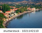 lesvos island  greece  july 15  ... | Shutterstock . vector #1021142110
