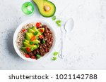 beef beans bowl with brown rice ... | Shutterstock . vector #1021142788