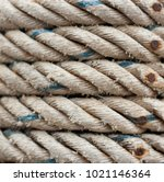 old nylon rope with nail rust... | Shutterstock . vector #1021146364