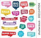 modern origami sale stickers... | Shutterstock .eps vector #1021147054