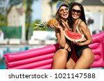 summer fashion. girls in... | Shutterstock . vector #1021147588