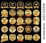 retro labels and badges golden...   Shutterstock .eps vector #1021152598