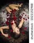 dreaming woman  femme fatale on ... | Shutterstock . vector #1021152988