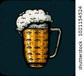 retro style beer mug  cup... | Shutterstock . vector #1021154524