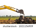 excavator backhoe arm with a... | Shutterstock . vector #1021156909