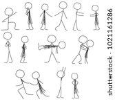 simple stick figures couple in... | Shutterstock .eps vector #1021161286