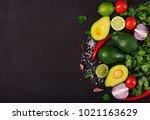 guacamole sauce ingredients  ... | Shutterstock . vector #1021163629