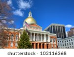 The Massachusetts State House located in the Beacon Hill neighborhood of Boston. It is the state capitol and house of government of Massachusetts. - stock photo