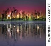 night city skyline with neon... | Shutterstock . vector #1021165414