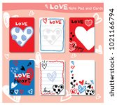 love note pad and cards... | Shutterstock .eps vector #1021166794