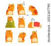 cute cartoon hamster characters ... | Shutterstock .eps vector #1021167790