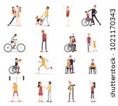 disabled people icons set with...   Shutterstock . vector #1021170343