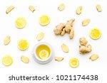 cup of ginger tea near ginger... | Shutterstock . vector #1021174438