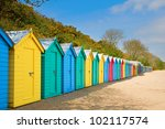 Colourful Beach Huts On Sunny...