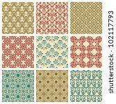 set of nine seamless pattern in ...   Shutterstock .eps vector #102117793