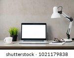 laptop computer white blank... | Shutterstock . vector #1021179838