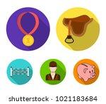 saddle  medal  champion  winner ... | Shutterstock .eps vector #1021183684
