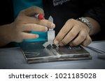 welding inspection on butted... | Shutterstock . vector #1021185028