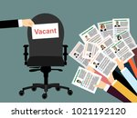 human hands holds resume  cv... | Shutterstock .eps vector #1021192120