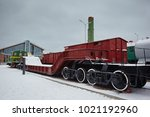 old diesel locomotive at the... | Shutterstock . vector #1021192960