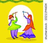 illustration of couple doing... | Shutterstock .eps vector #1021194604