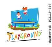 trampoline jump. kid jumpin on... | Shutterstock .eps vector #1021194964