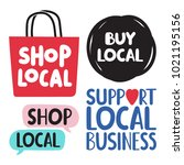 shop  buy local. support local... | Shutterstock .eps vector #1021195156