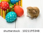composition with easter eggs on ... | Shutterstock . vector #1021195348