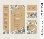 cafe breakfast menu cardboard... | Shutterstock .eps vector #1021198270