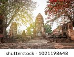 aged abandon temple and buddha... | Shutterstock . vector #1021198648