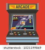 arcade video game machine with... | Shutterstock .eps vector #1021199869