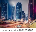 colourful skyline of downtown... | Shutterstock . vector #1021203988