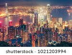 scenic view over hong kong... | Shutterstock . vector #1021203994