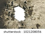 hole in cement and brick wall... | Shutterstock . vector #1021208056