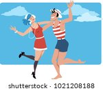 couple dressed in 1920s style...   Shutterstock .eps vector #1021208188