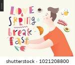 love  spring  breakfast... | Shutterstock .eps vector #1021208800