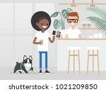 cozy coffee shop. modern...   Shutterstock .eps vector #1021209850