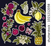 set of roses and fruit patches... | Shutterstock . vector #1021212058