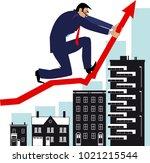man bending a graph upwards ... | Shutterstock .eps vector #1021215544