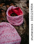 kid cotton hat and tube scarf | Shutterstock . vector #1021219054