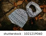 kid cotton hat and tube scarf | Shutterstock . vector #1021219060