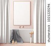 mock up poster in the bathroom ... | Shutterstock . vector #1021220296