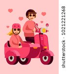 cute couple riding scooter with ... | Shutterstock .eps vector #1021221268