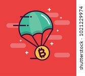 parachute with bitcoin... | Shutterstock .eps vector #1021229974