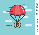 parachute with bitcoin... | Shutterstock .eps vector #1021229986